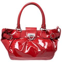 Salvatore Ferragamo Red Patent Leather Marisa Satchel