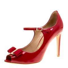 Salvatore Ferragamo Red Patent Leather Mood Vara Bow Peep Toe Mary Jane Pumps
