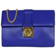Salvatore Ferragamo Royal Blue Leather Gancini Flap Bag w/ Chain Strap