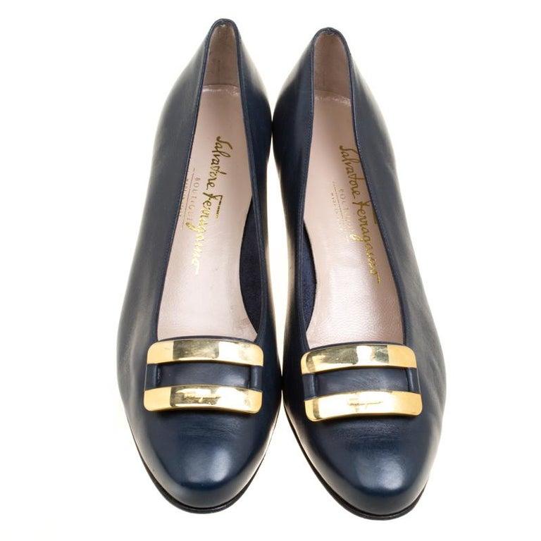 f2a0dec5bc56 Salvatore Ferragamo Royal Blue Leather Low Heel Pumps Size 39 For ...