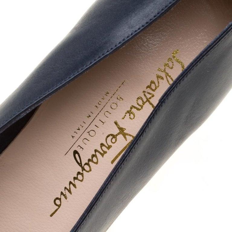 295e4061ddfd Salvatore Ferragamo Royal Blue Leather Low Heel Pumps Size 39 For Sale 3