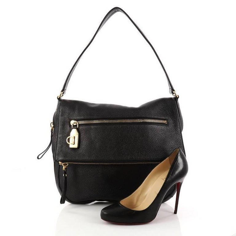 This Authentic Salvatore Ferragamo Selma Shoulder Bag Leather Medium Is A Stylish To Carry All