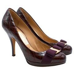 Salvatore Ferragamo Sharla Quilted Patent Platform Heels 6 39