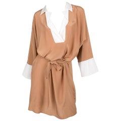 Salvatore Ferragamo Silk Dress - camel/white