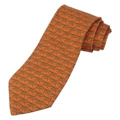 Salvatore Ferragamo Silk Men's Necktie With Abstract Fish Motif