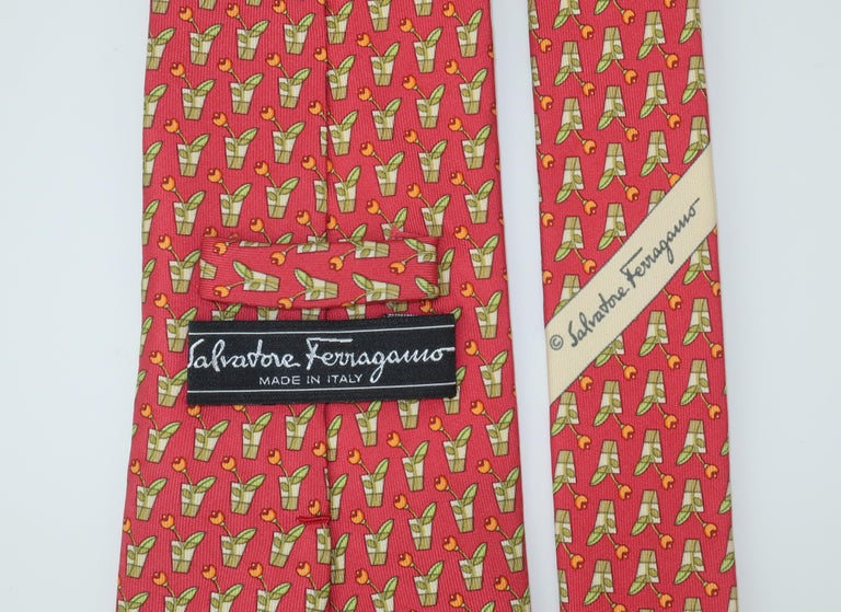 Salvatore Ferragamo Silk Men's Necktie With Flower in Vase Motif For Sale 1