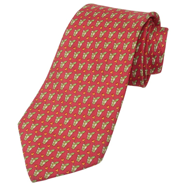 Salvatore Ferragamo Silk Men's Necktie With Flower in Vase Motif For Sale