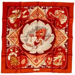 Salvatore Ferragamo Silk Scarf New in Box  19th Century Sleigh and Costume Theme