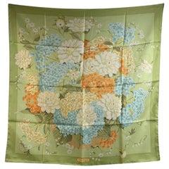 Salvatore Ferragamo Silk Vintage Scarf Green Floral Peony Design
