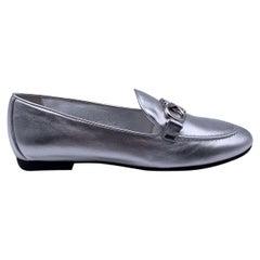 Salvatore Ferragamo Silver Leather Trifoglio Loafers Size 7C 37.5C