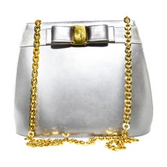Salvatore Ferragamo Silver Metallic Leather Shoulderbag