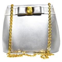 Salvatore Ferragamo Silver Metallic Leather Shoulderbag