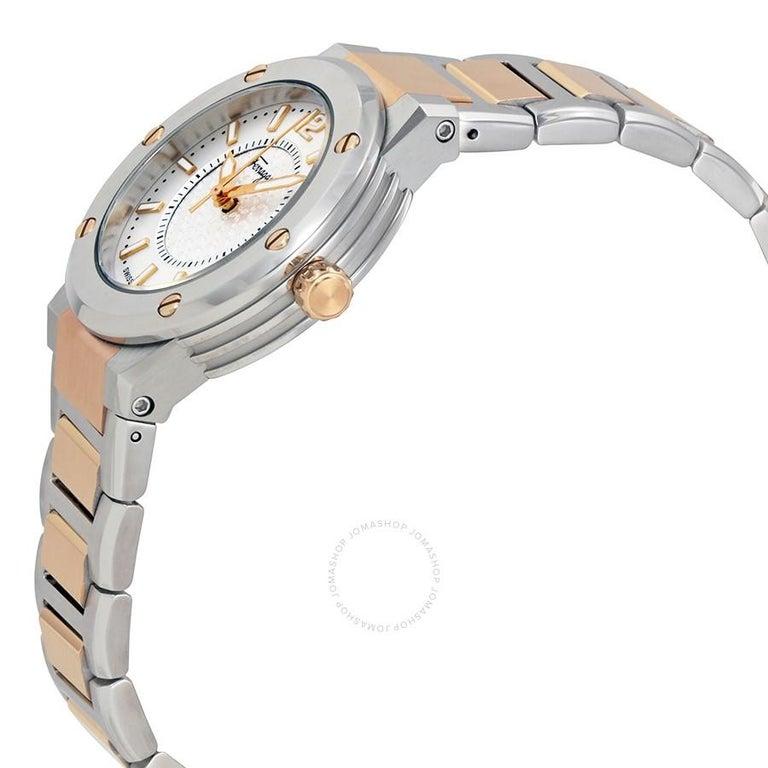 Salvatore Ferragamo Silver Stainless Steel F-80 Women's Wristwatch 33MM In New Condition For Sale In Dubai, Al Qouz 2