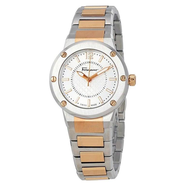 Salvatore Ferragamo Silver Stainless Steel F-80 Women's Wristwatch 33MM For Sale