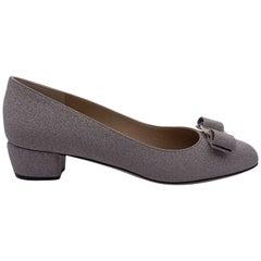 Salvatore Ferragamo Silver Vara Glitter Low Heel Pumps Size 7.5C 38C