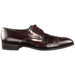 SALVATORE FERRAGAMO Size 10.5 Burgundy Polished Leather Cap Toe Lace Up
