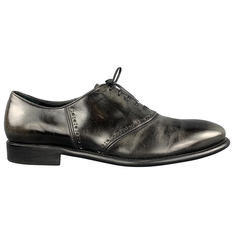 59838ce97014c SALVATORE FERRAGAMO Size 11 Antique Black Leather Lace Up Derby Shoes