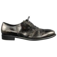 SALVATORE FERRAGAMO Size 11 Antique Black Leather Lace Up Derby Shoes