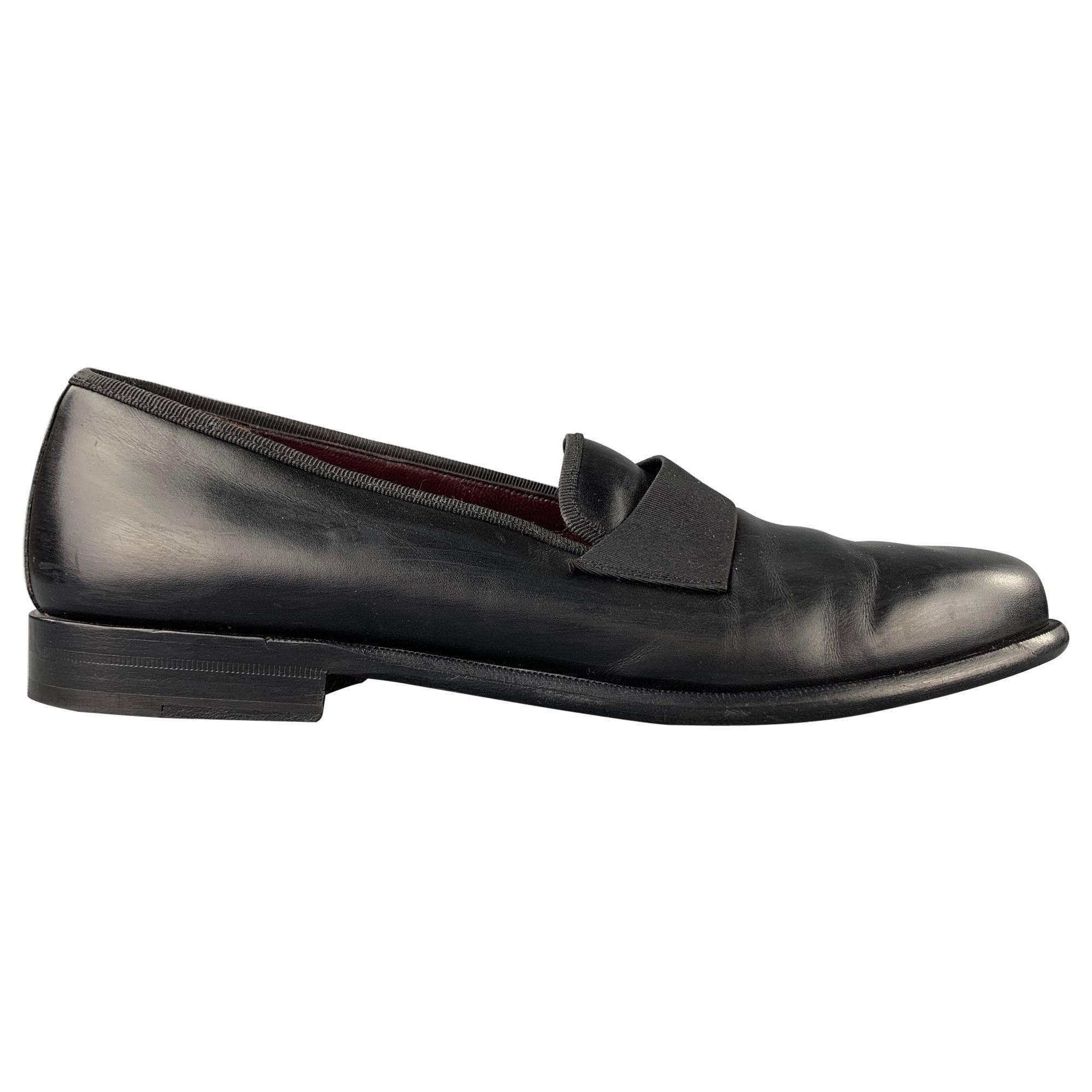 SALVATORE FERRAGAMO Size 11 Black Leather Slip On Loafers