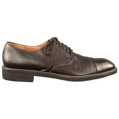 SALVATORE FERRAGAMO Size 11 Brown Textured Leather Cap Lace Up Dress Shoes