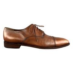 SALVATORE FERRAGAMO Size 11 Tan Antique Leather Cap Toe Lace Up Shoes