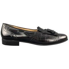 SALVATORE FERRAGAMO Size 11.5 Black Leather Eyelash Tassel Loafers