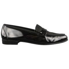 SALVATORE FERRAGAMO Size 11.5 Black Patent Leather & Ribbon Loafers