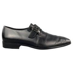 SALVATORE FERRAGAMO Size 11.5 Solid Black Leather Monk Strap Loafers