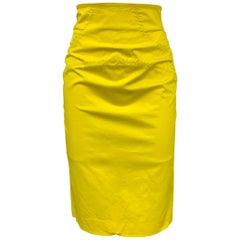 SALVATORE FERRAGAMO Size 2 Yellow Stitched Cotton Pencil Skirt
