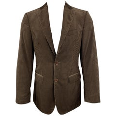 SALVATORE FERRAGAMO Size 38 Taupe Brown Checkered Cotton Velvet Notch Lapel Spor