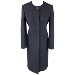 SALVATORE FERRAGAMO Size 4 Navy Wool / Silk Collarless Hidden Button Coat