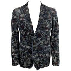 SALVATORE FERRAGAMO Size 42 Black & Grey Feather Print Velvet Sport Coat