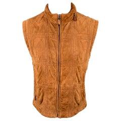 SALVATORE FERRAGAMO Size 42 Tan Suede Quilted Zip Up Hooded Vest
