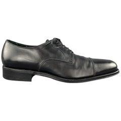 SALVATORE FERRAGAMO Size 8 Black Leather Cap Toe Lace Up