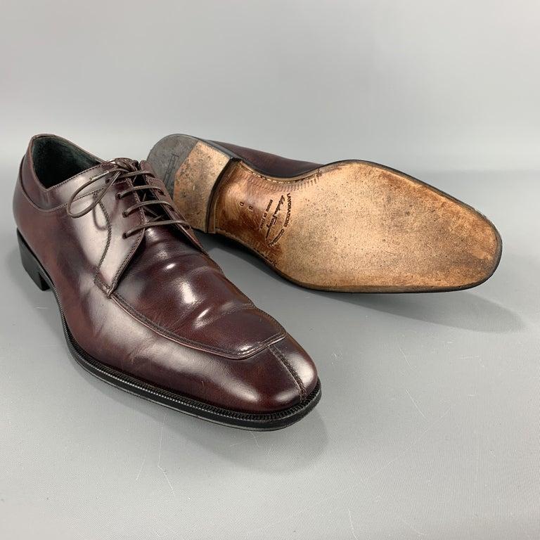 Black SALVATORE FERRAGAMO Size 8 Brown Antique Leather Split Apron Toe Lace Up For Sale