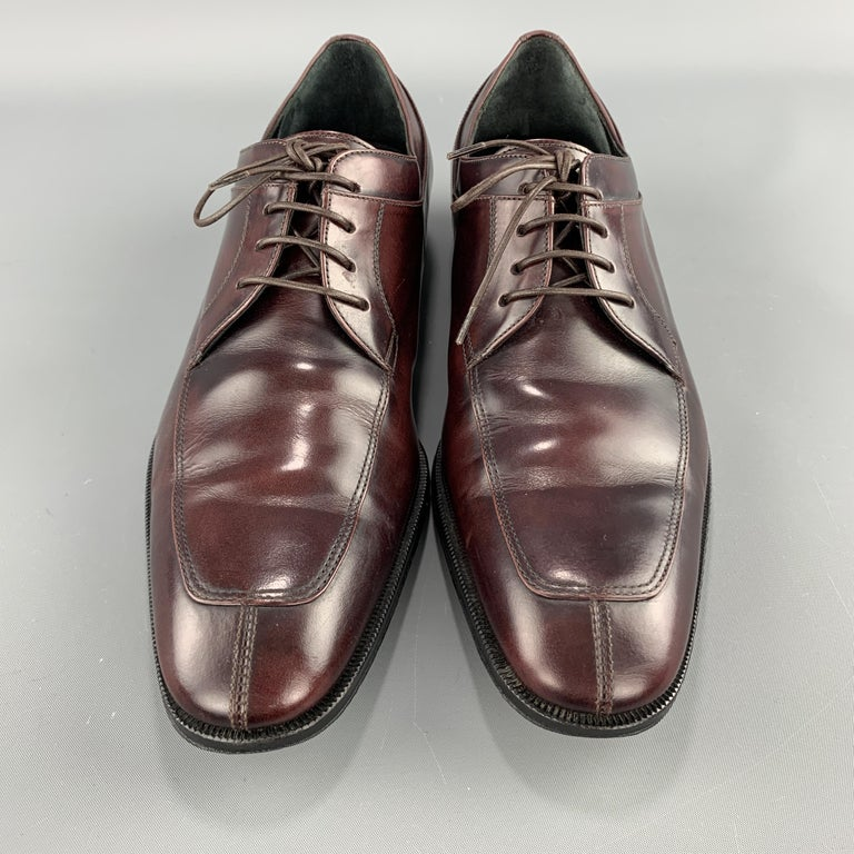 SALVATORE FERRAGAMO Size 8 Brown Antique Leather Split Apron Toe Lace Up In Excellent Condition For Sale In San Francisco, CA