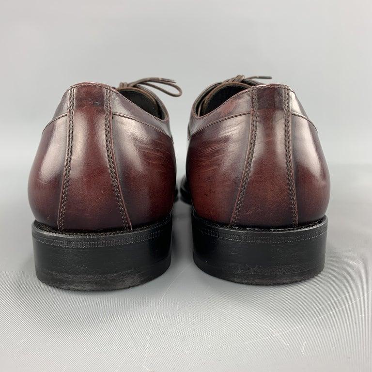 SALVATORE FERRAGAMO Size 8 Brown Antique Leather Split Apron Toe Lace Up For Sale 1