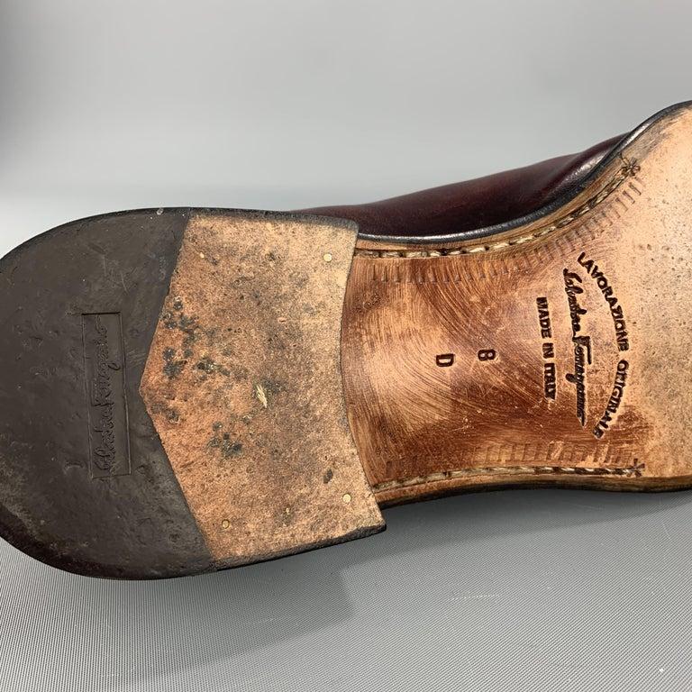 SALVATORE FERRAGAMO Size 8 Brown Antique Leather Split Apron Toe Lace Up For Sale 2