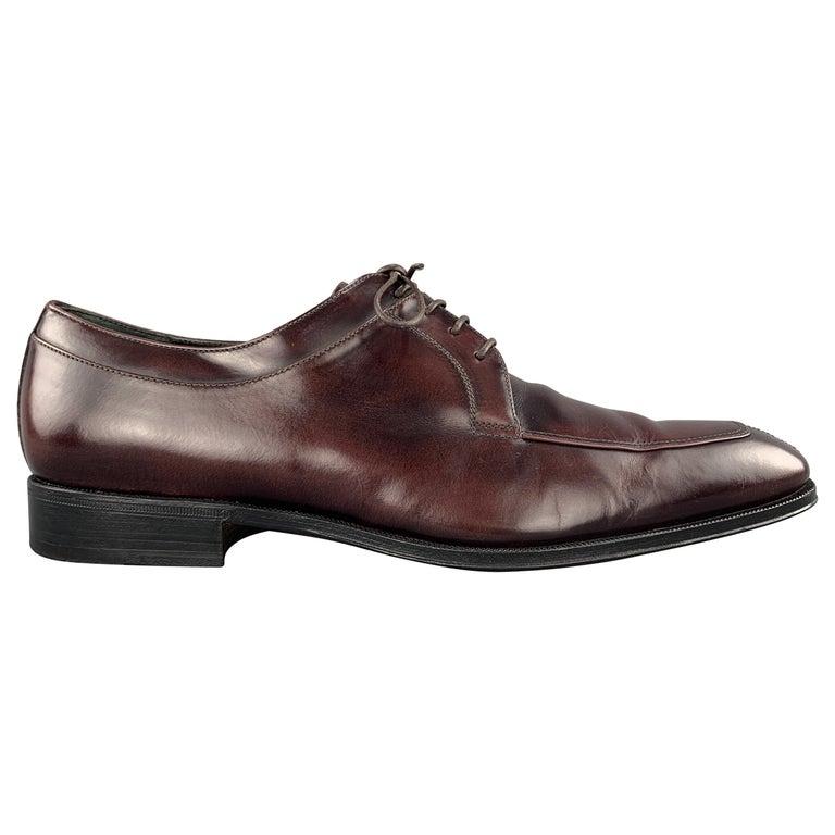 SALVATORE FERRAGAMO Size 8 Brown Antique Leather Split Apron Toe Lace Up For Sale