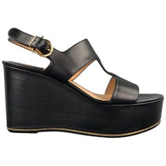SALVATORE FERRAGAMO Size 8.5 Black Leather Platform Sandals