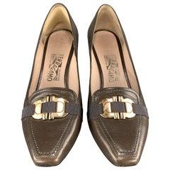 SALVATORE FERRAGAMO Size 8.5 Taupe Leather Gold Tone Gancini Loafer Pumps