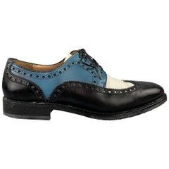 SALVATORE FERRAGAMO Size 9.5 Black & White Color Block Leather Wingtip Lace Up