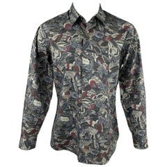 SALVATORE FERRAGAMO Size L Charcoal & Grey Print Cotton Long Sleeve Shirt