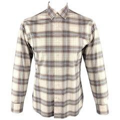 SALVATORE FERRAGAMO Size M Brown Plaid Cotton Long Sleeve Shirt