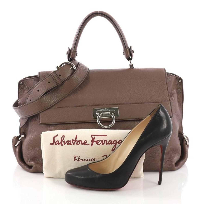 Salvatore Ferragamo Sofia Satchel Grainy Leather Large For Sale at 1stdibs 3b40ec5e3e10f