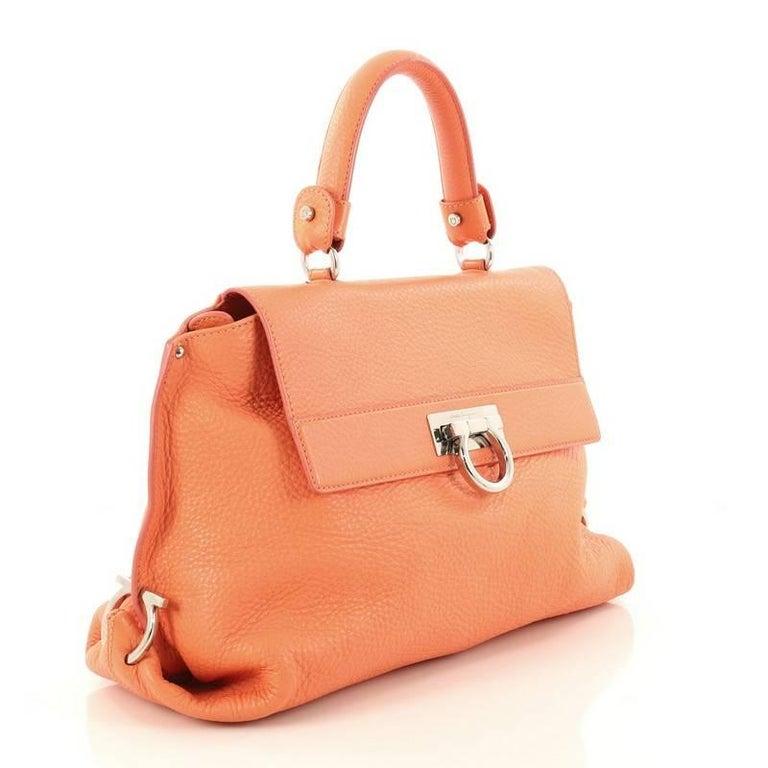 a215c3a9b42 Orange Salvatore Ferragamo Sofia Satchel Pebbled Leather Large For Sale