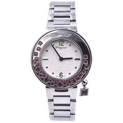 Salvatore Ferragamo Stainless Steel Sparking Pink Topaz Gancino Ladies Watch