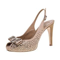 Salvatore Ferragamo Studded Beige Leather Louvre Scilla Bow Sandals Size 37