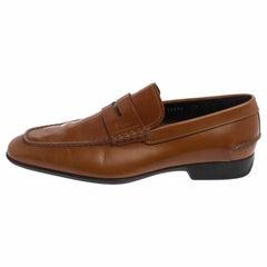 Salvatore Ferragamo Tan Glaze Leather Penny Loafers Size 41