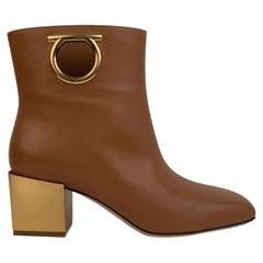 Salvatore Ferragamo Tan Leather Albiano Ankle Boots US 7C EU 37.5